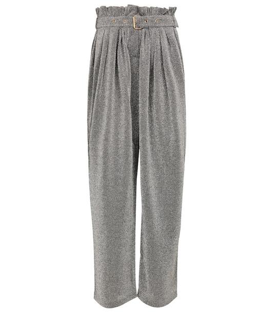 Balmain Lurex®-blend wide-leg pants in grey