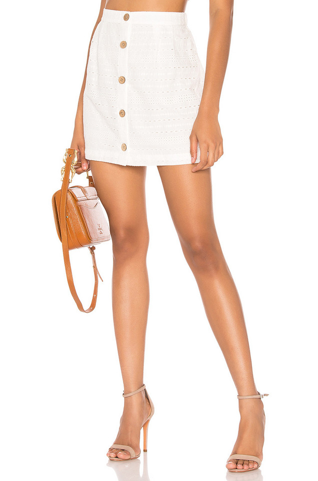 MINKPINK Julep Lace Skirt in white