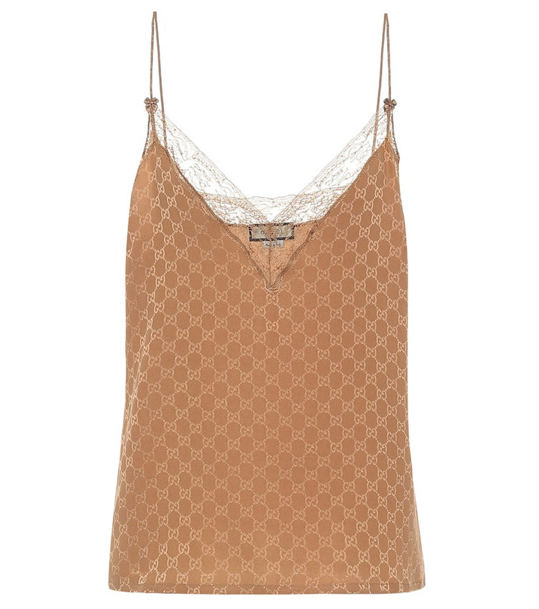 Gucci GG silk-crêpe camisole in brown