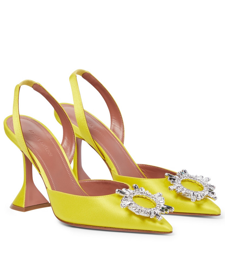 Amina Muaddi Begum satin slingback pumps in yellow