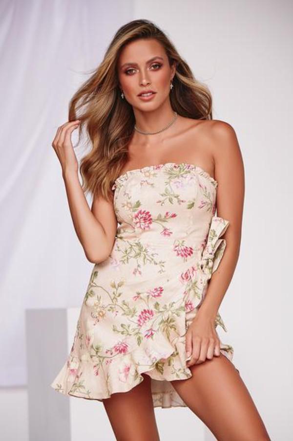 dress floral mini dress wrap style frill casual