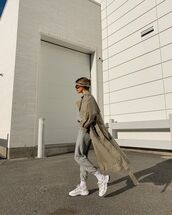 coat,trench coat,sneakers,joggers,sweater