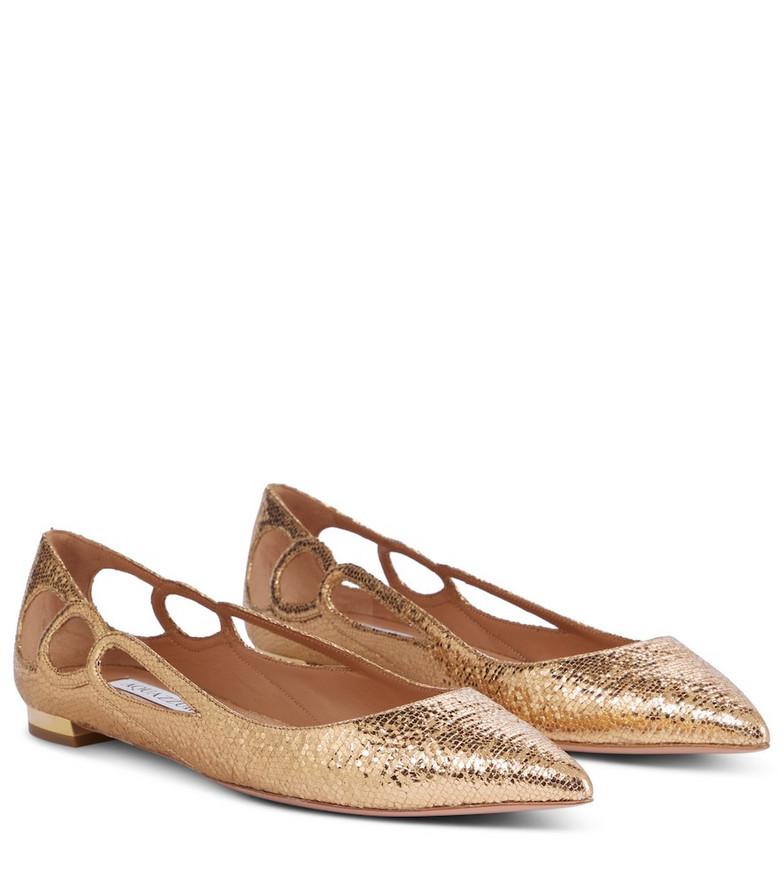 Aquazzura Fenix leather ballet flats in gold