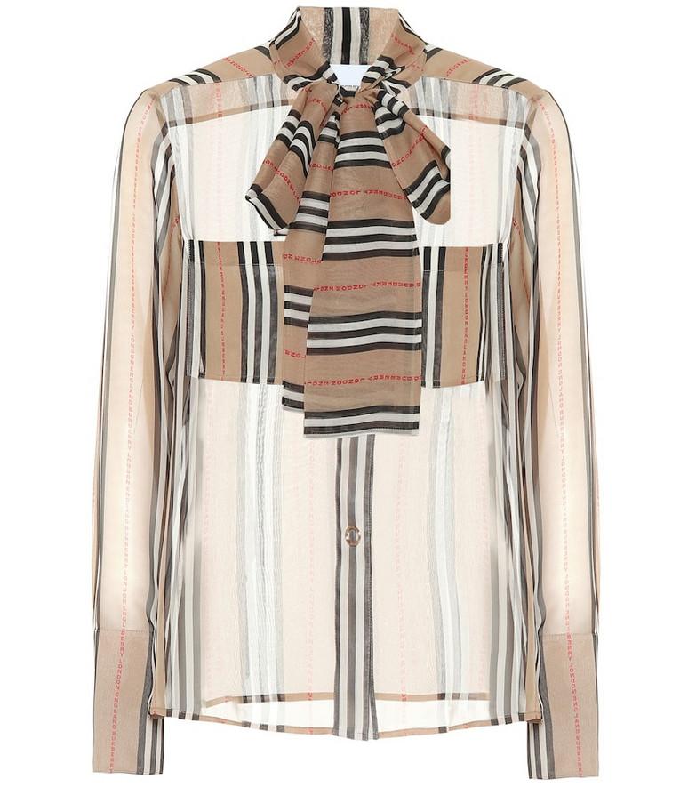Burberry Amelie striped silk blouse in beige