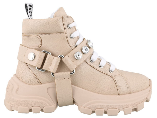 Miu Miu Leather Sneakers With Crystals in pink