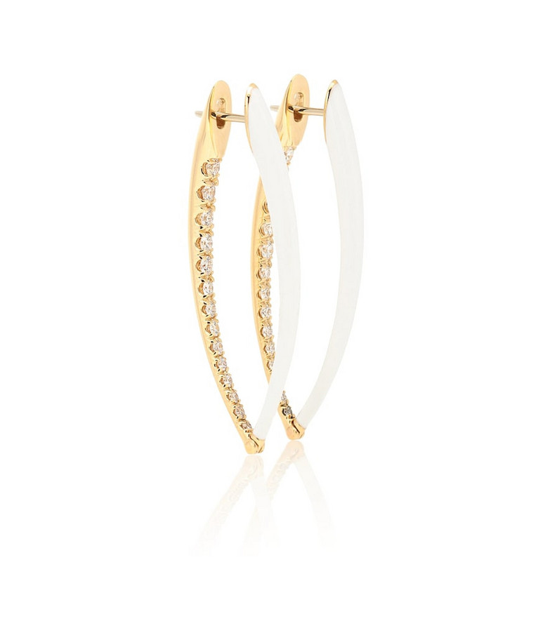 Melissa Kaye Cristina Large 18kt gold hoop earrings with diamonds in white