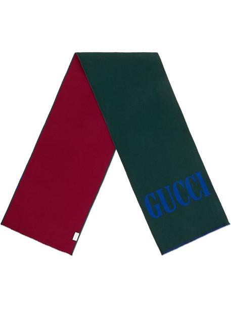 Gucci jacquard wool silk scarf in green