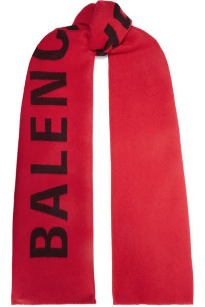 Balenciaga - Intarsia Wool Scarf - Red