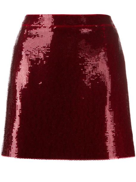 Saint Laurent sequinned mini skirt in red