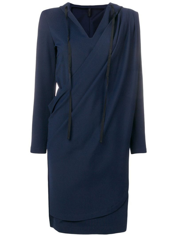 UNRAVEL PROJECT wrap hoodie dress in blue
