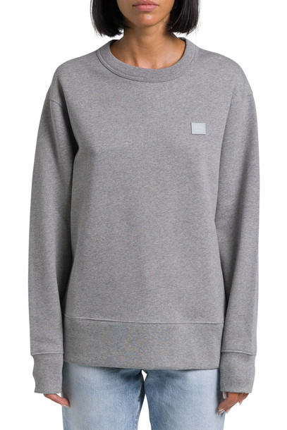 Acne Studios Fairview Face Felpa Girocollo A Maniche Lunghe - Unisex Regular Fit Brushed Fleece Long Sleeved Crew Neck Sweatshirt With Embroidered Fac