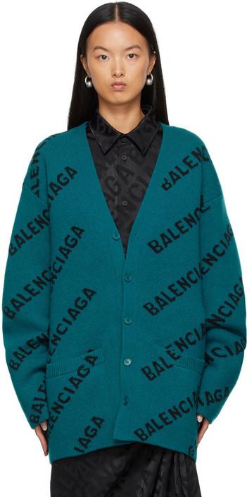 Balenciaga All Over Logo Cardigan in blue