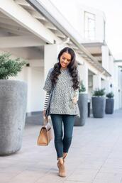 stylish petite,blogger,sweater,shirt,jeans,shoes,bag