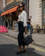 top,blouse,black jeans,loafers,black bag