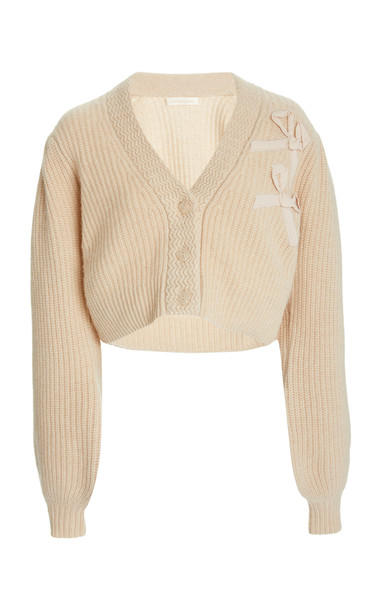 LoveShackFancy Avignon Cropped Cashmere Cardigan Sweater in neutral