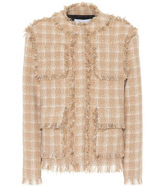 MSGM Cotton-blend tweed jacket in beige