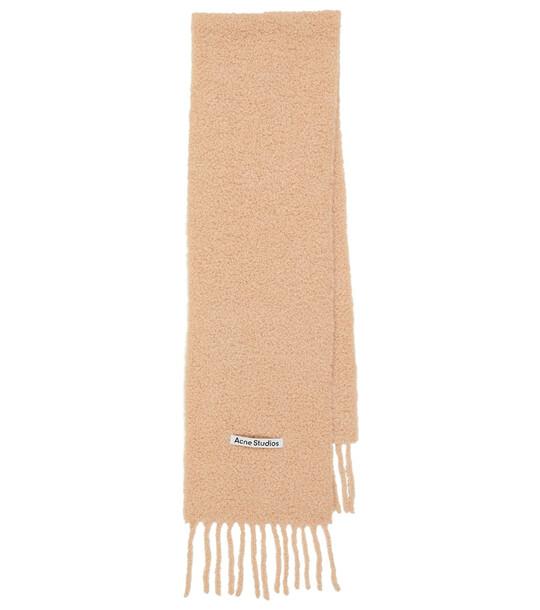 Acne Studios Alpaca bouclé scarf in beige