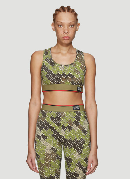 Burberry Monogram Cropped Top in Green size S