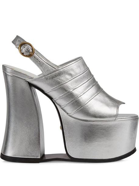 Gucci metallic-effect platform sandals in silver