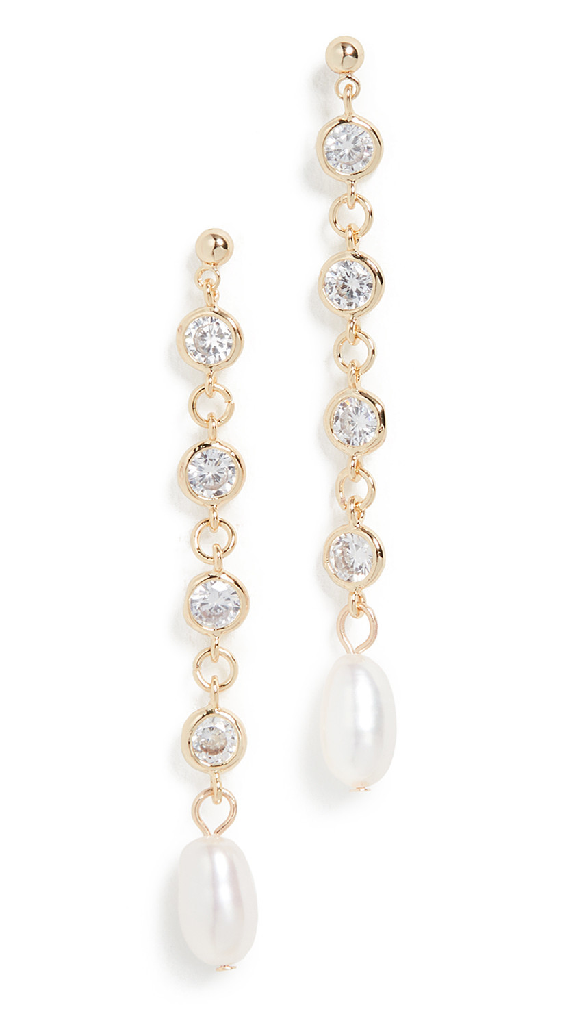 Jules Smith Bling Cultured Pearl Drop Earrings in gold / yellow