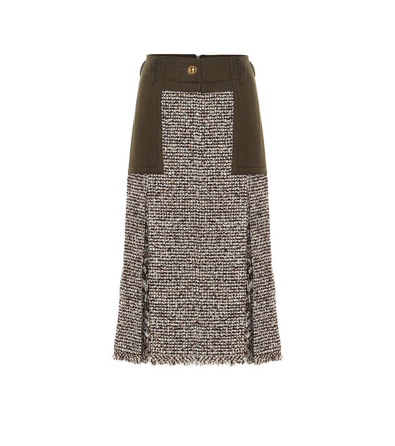 Sacai High-rise wool-blend tweed skirt in brown