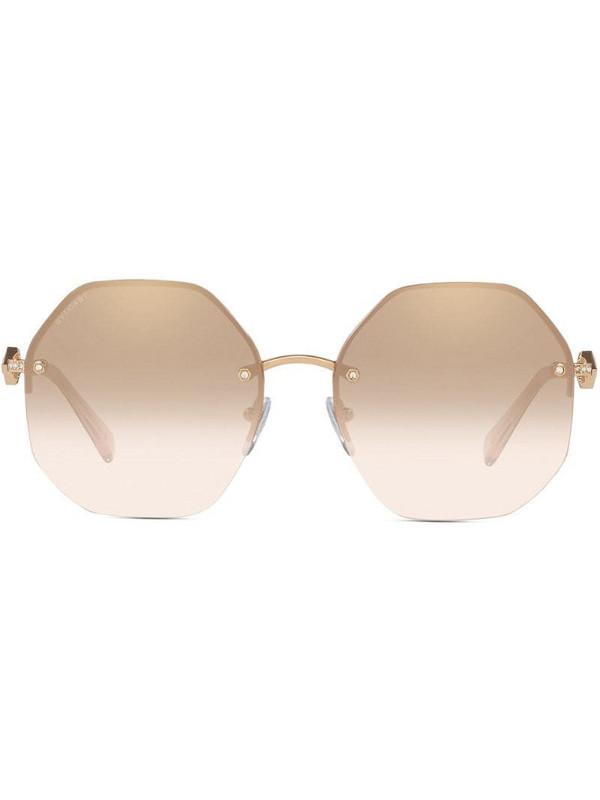 Bvlgari hexagon-frame sunglasses in gold