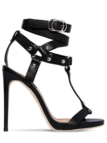 DSQUARED2 120mm Leather Studded T Bar Sandals in black