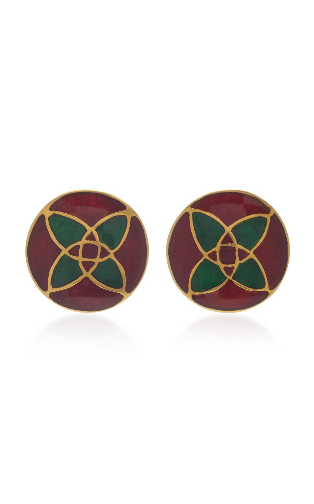 Amrapali 18K Gold and Enamel Earrings in red