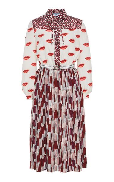 Prada Contrast Print Midi Shirt Dress