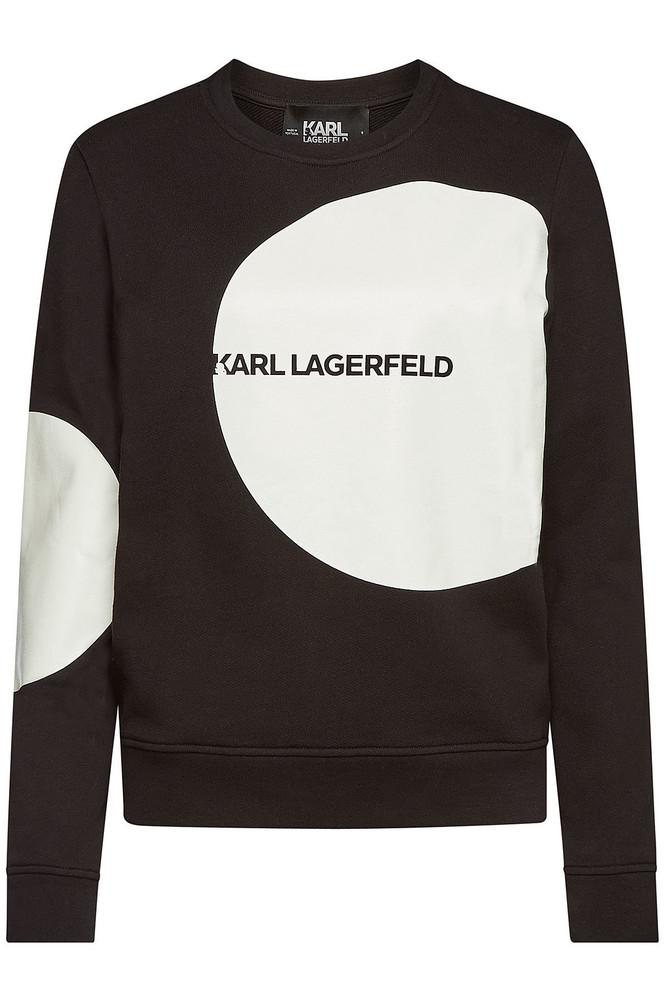 Karl Lagerfeld Karl Dots Logo Printed Cotton Sweatshirt  in black