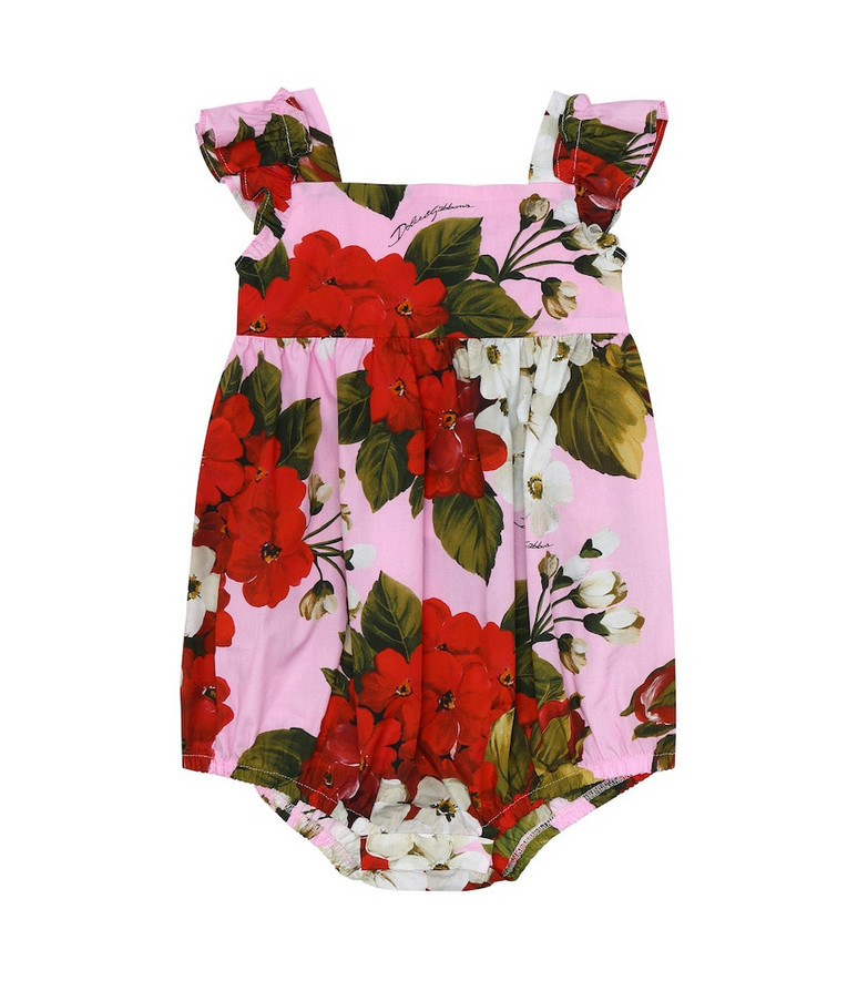 Dolce & Gabbana Kids Baby floral cotton playsuit in pink