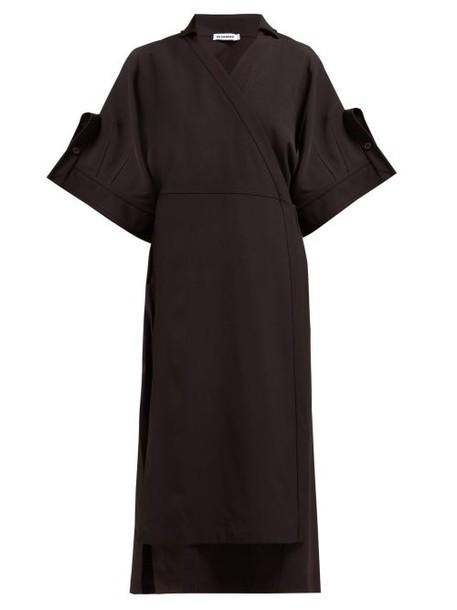 Jil Sander - Galatea Twill Midi Dress - Womens - Black