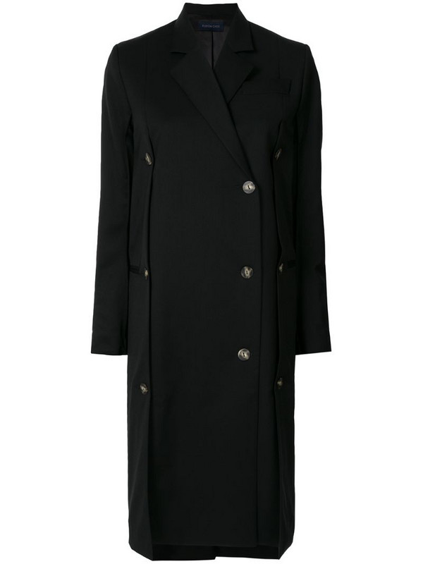 Eudon Choi single breasted tailored coat in black