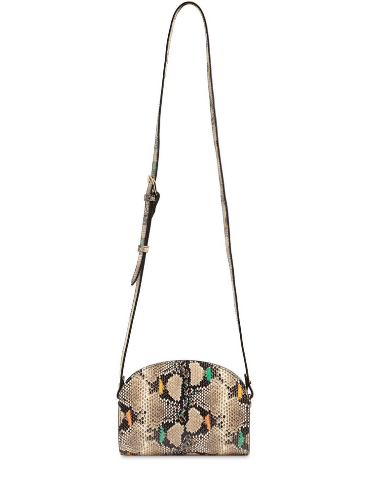 A.P.C. Mini Demi Lune Snake Print Leather Bag