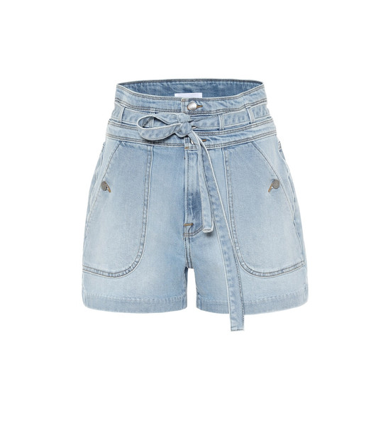 Frame Triple high-rise denim shorts in blue