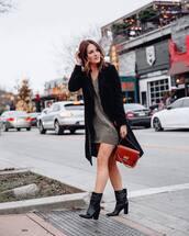 bag,brown bag,givenchy,black boots,heel boots,v neck,sweater,black coat,long coat