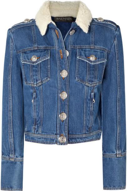 Balmain - Button-embellished Shearling-trimmed Denim Jacket - Blue