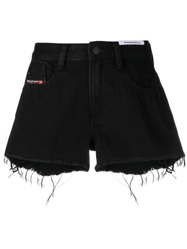 Diesel raw-hem denim shorts in black