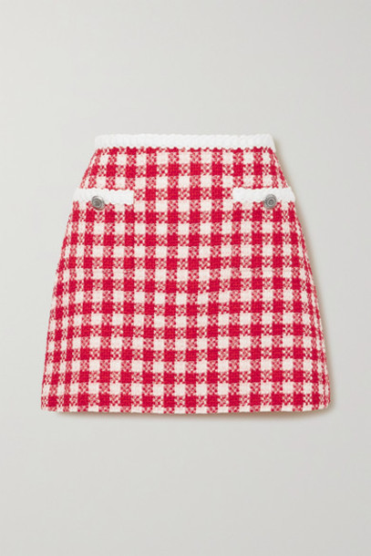 Miu Miu - Checked Wool And Cotton-blend Tweed Mini Skirt - Red
