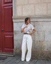 pants,white pants,t-shirt,bag