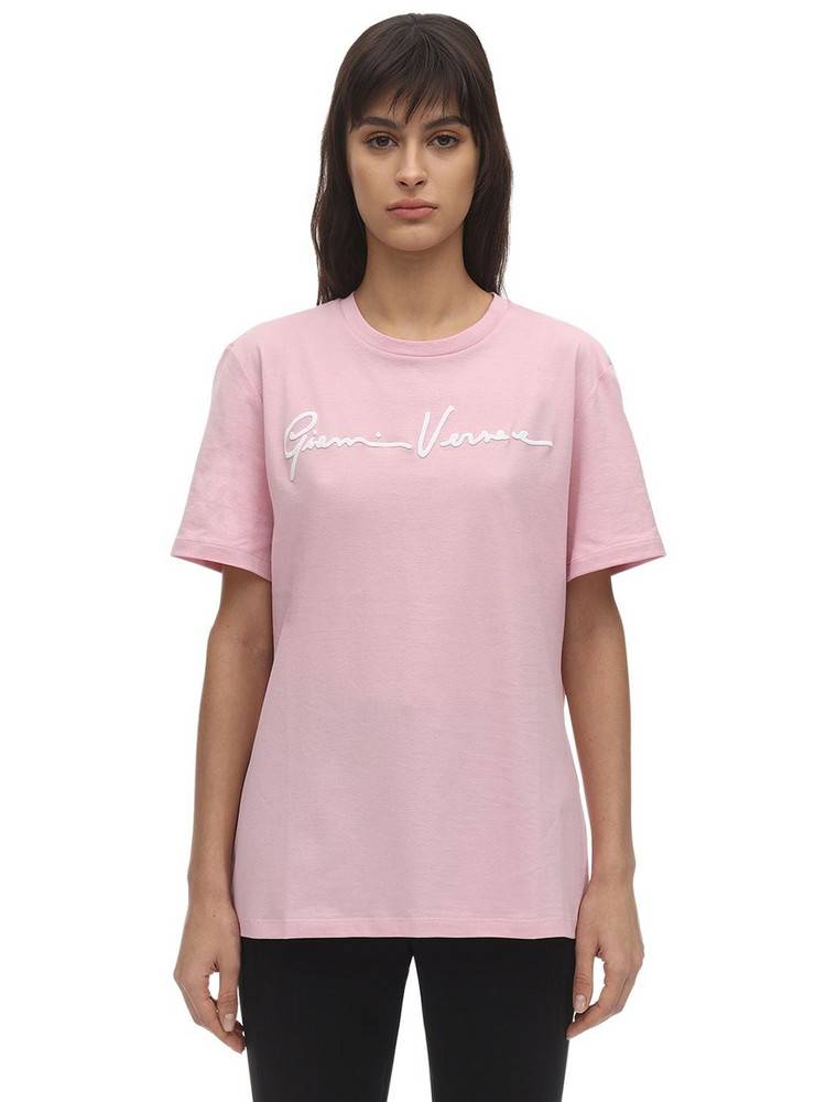 VERSACE Signature Logo Cotton Jersey T-shirt in pink / white
