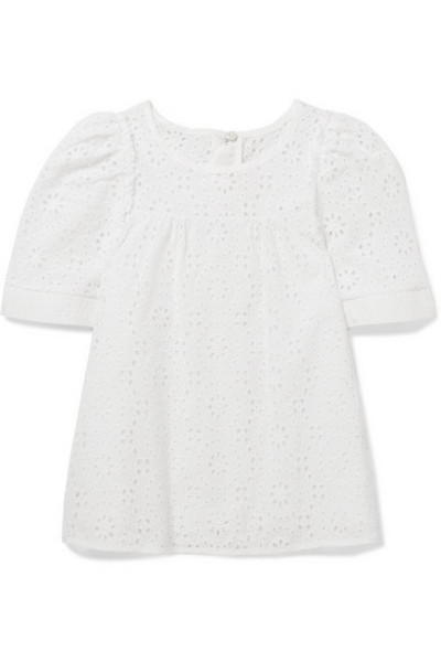 Chloé Kids - Ages 2 - 5 Broderie Anglaise Cotton Top in white