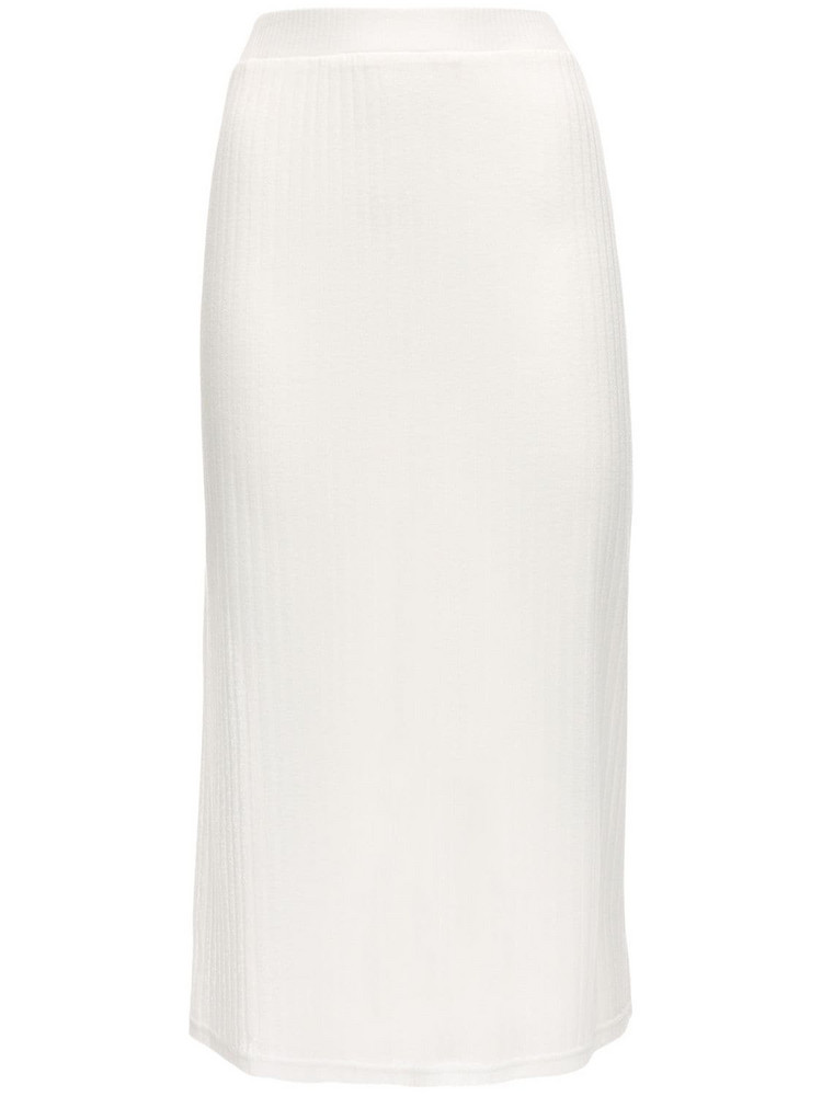 AYA MUSE Sienna Sheer Stretch Viscose Midi Skirt in white