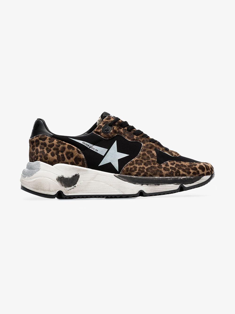 Golden Goose Deluxe Brand Golden Goose black Running Sole leopard print low-top leather sneakers