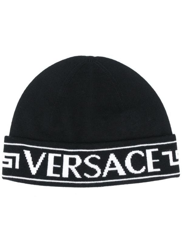 Versace logo wool beanie in black