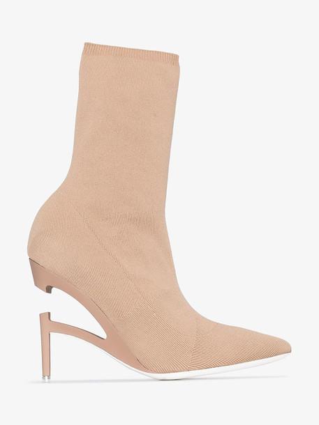 Unravel Project beige 100 broken heel knit boots