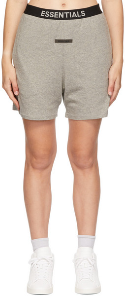 Essentials Grey Logo Lounge Shorts in charcoal