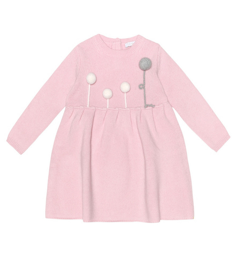 Il Gufo Baby embroidered wool dress in pink