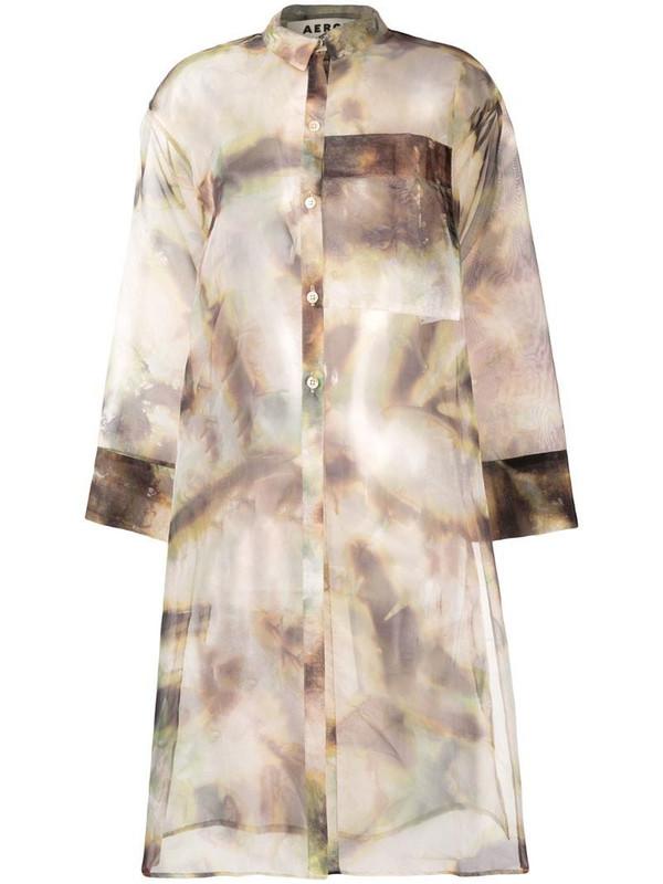 Aeron tie-dye print sheer blouse in brown