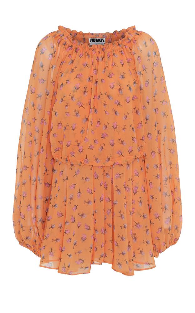 ROTATE Printed Off-Shoulder Mini Dress in print